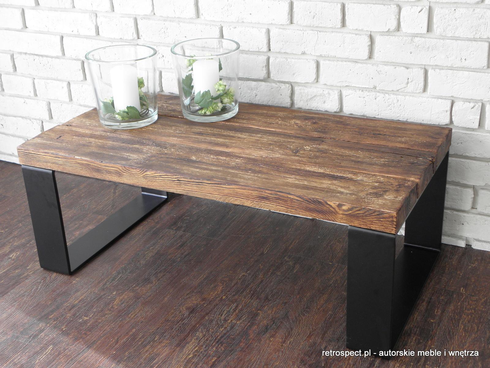 Chwalebne Ława Loft black, blat - autentyczne stare drewno - RETROSPECT DL84