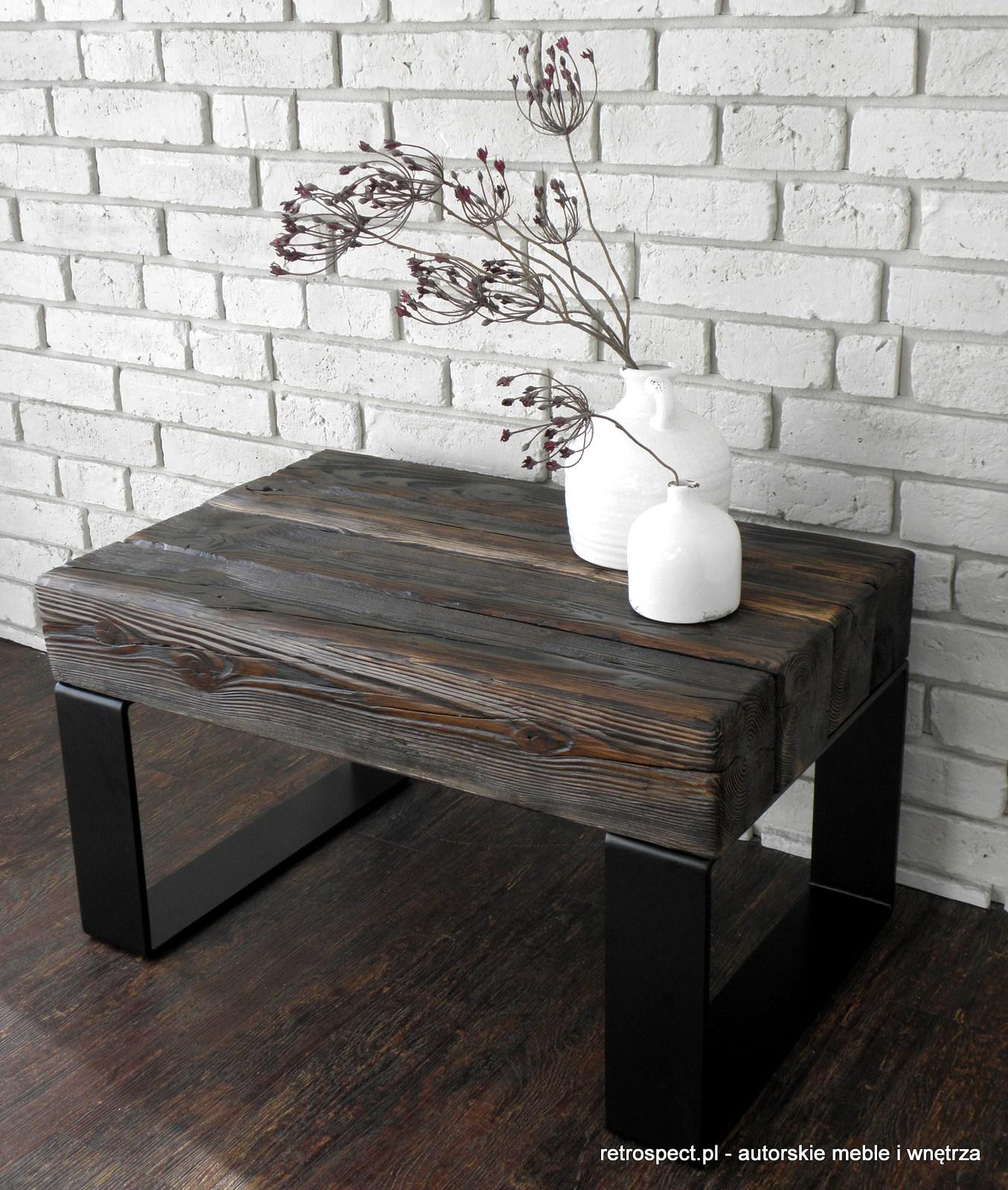 Zupełnie nowe Stolik Rustic black, blat - autentyczne stare drewno, palisander QP01