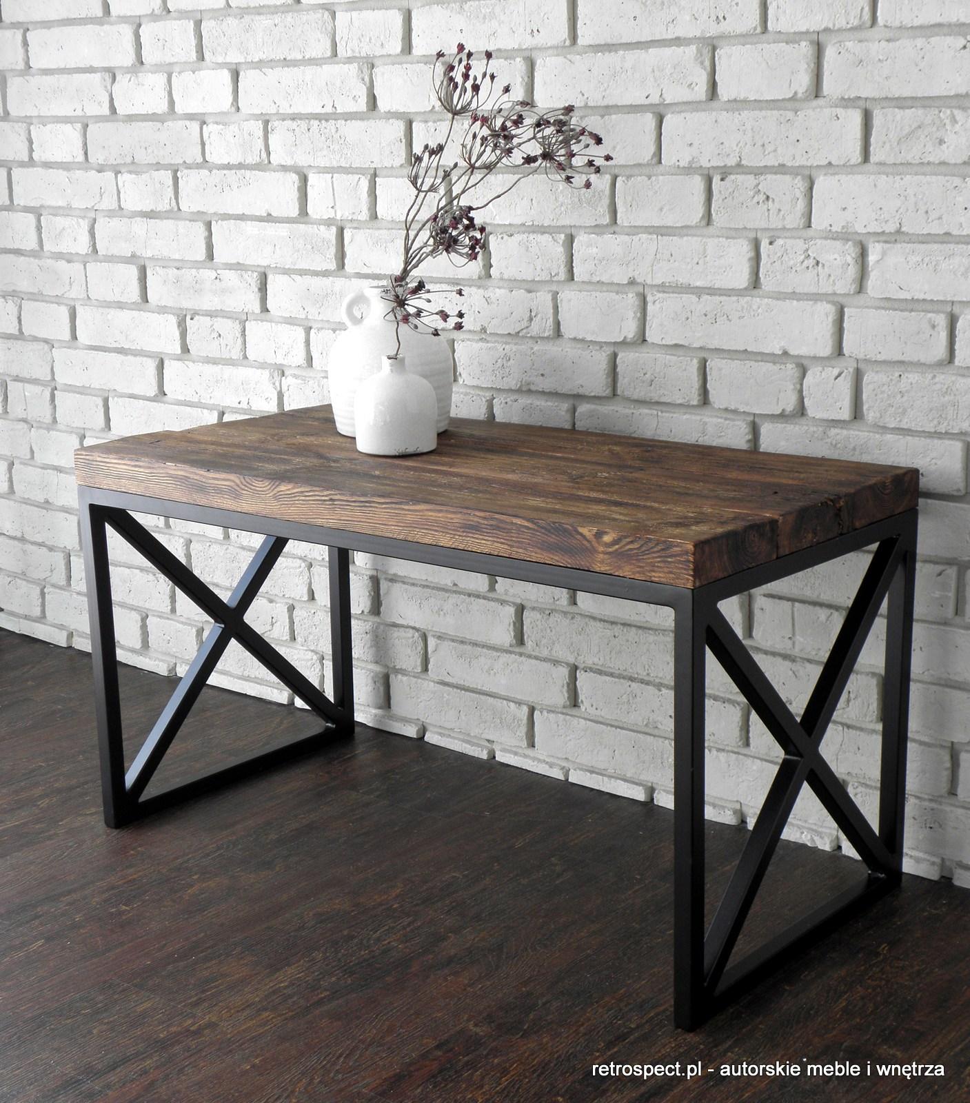 Zaktualizowano Ława Cross black, blat - autentyczne stare drewno - RETROSPECT SD29
